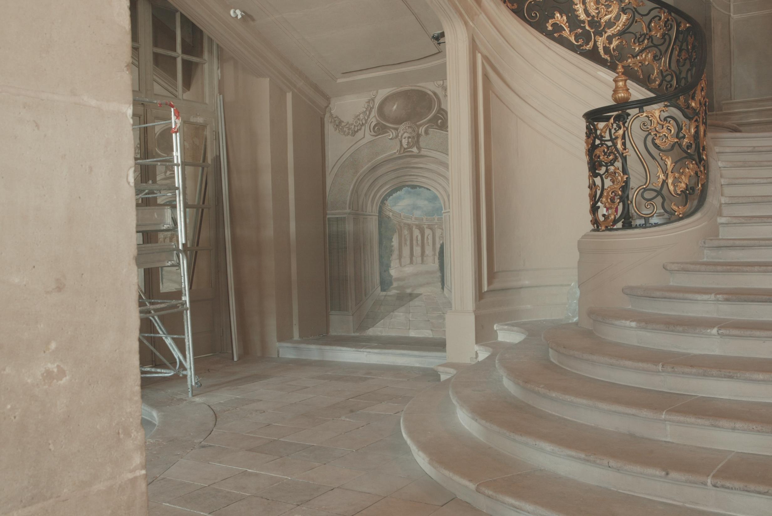 restaurateur de peinture murale restitution d 39 un d cor monumental h tel de ville de nancy. Black Bedroom Furniture Sets. Home Design Ideas