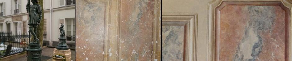 Restauration d'un stuc marbre,décor peint.