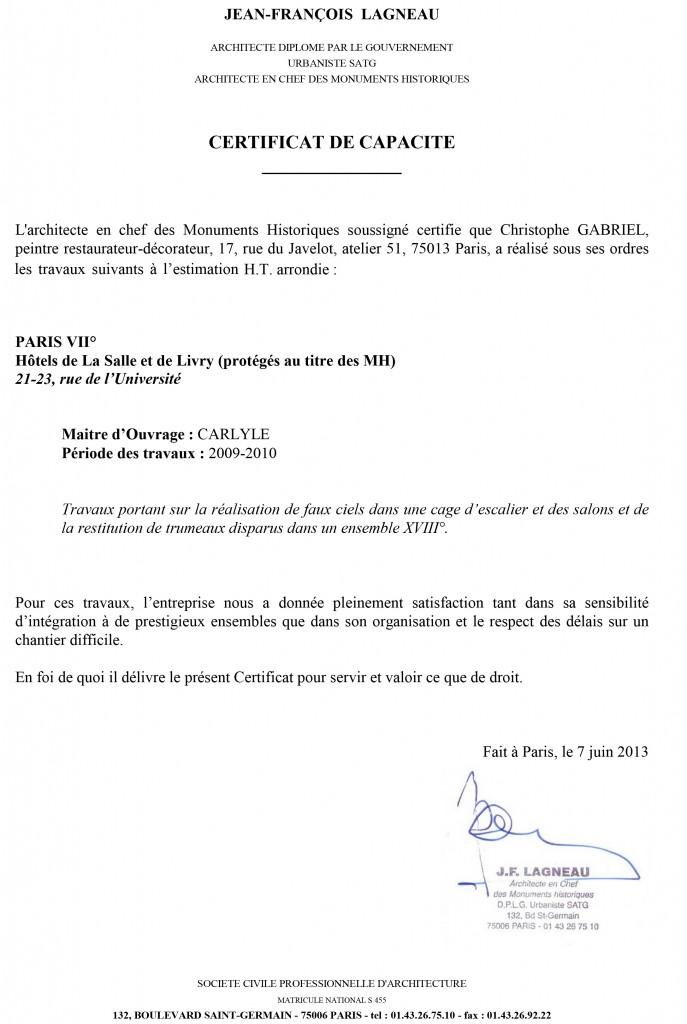 Certificat de capacité entreprise