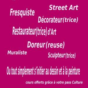 Découverte des métiers artistiques avec votre pass culture. Stages de dessi, peinture, décoration, street art graff, illustration, dorure